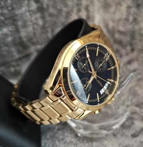 นาฬิกา CUENA สีทองหน้าปัดดำ สายสแตนเลส สวยหรู