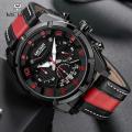นาฬิกาสุดเท่ห์จาก MEGIR สายหนังแท้สีดำแดง มีสไตล์