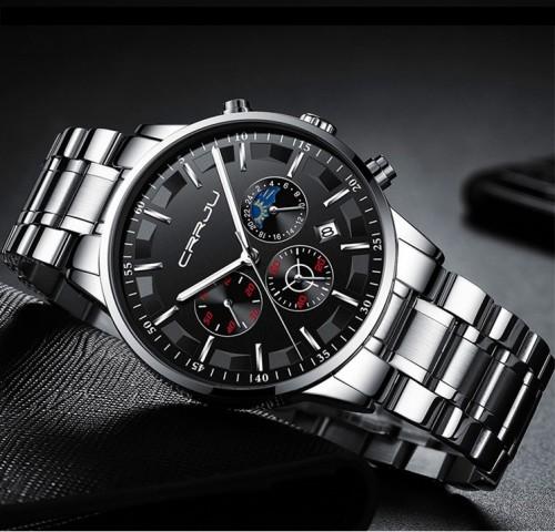 นาฬิกา CRRJU หน้าปัดสีดำ สายสีเงิน หน้าปัดสวยหรูมาก