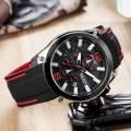 นาฬิกาสุดเท่ห์จาก MEGIR สายยางสีดำตัดแดง งานพรีเมียมสุดๆ