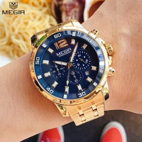 นาฬิกา MEGIR สีทองหน้าปัดน้ำเงิน สายสแตนเลส สวยหรูมาก