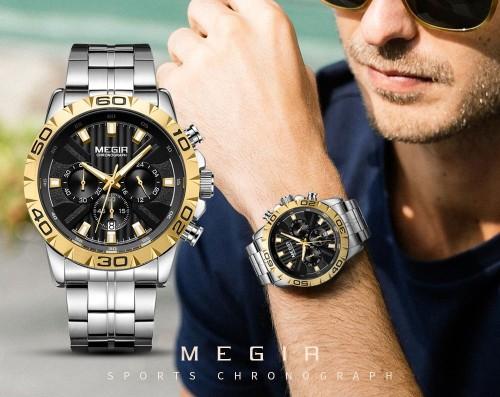 นาฬิกา MEGIR หน้าปัดดำขอบทอง สวยหรูสุดๆ คุณภาพเยี่ยม