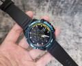 นาฬิกาสุดเท่ห์จาก MEGIR สายหนังแท้สีดำ หน้าปัดดำขอบน้ำเงิน