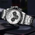 นาฬิกา MEGIR หน้าปัดขาวตัดลายดำ สวยหรู คุณภาพเยี่ยม