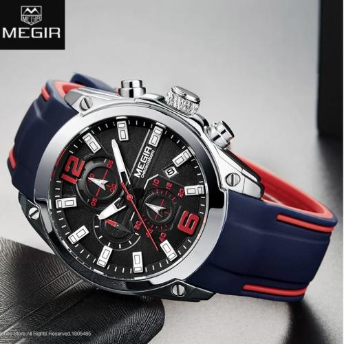 นาฬิกาสุดเท่ห์จาก MEGIR สายยางสีน้ำเงินตัดแดง งานพรีเมียมสุดๆ
