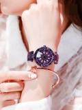 นาฬิกาสวยหรูสีม่วง รุ่นกังหันดอกไม้หมุน ประดับเพชร