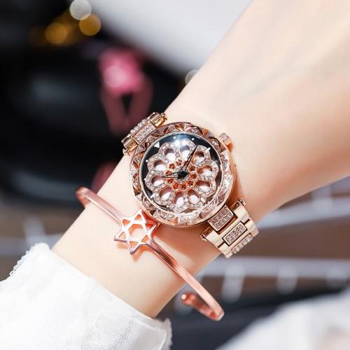 นาฬิกาสวยหรูสีพิงค์โกลด์ รุ่นกังหันดอกไม้หมุน ประดับเพชร