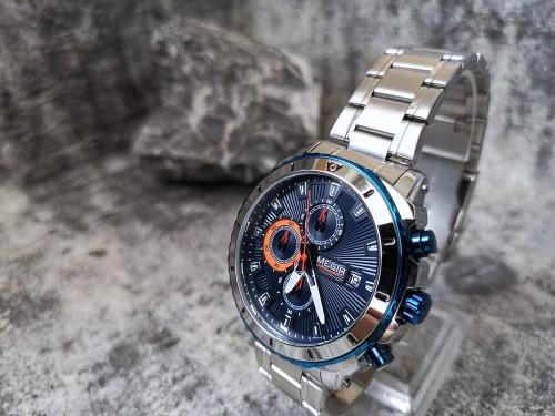 นาฬิกา MEGIR สุดหรู สายสแตนเลส หน้าน้ำเงินงามมาก