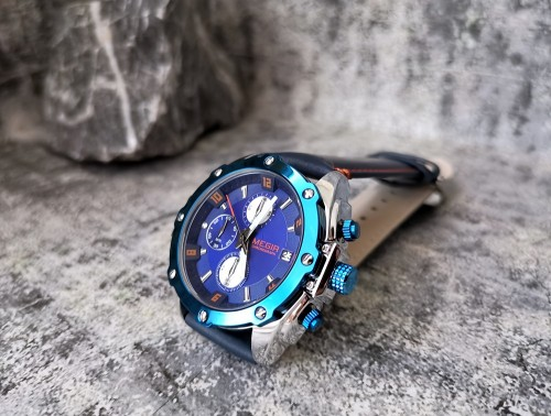 นาฬิกา MEGIR สายหนังแท้สีน้ำเงิน รายละเอียดสวยงาม