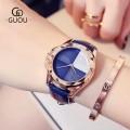 นาฬิกาแบรนด์ GUOU สีน้ำเงินสายหนัง หน้าปัดสวยมีเสน่ห์