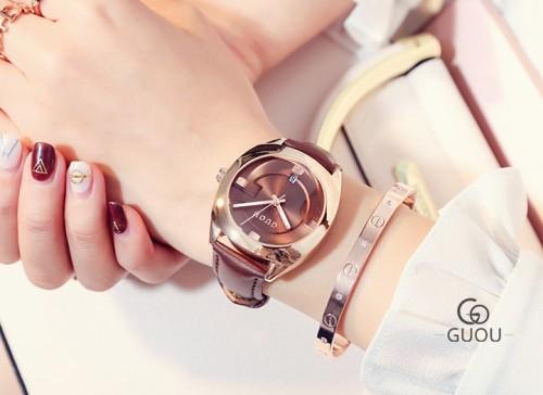 นาฬิกาแบรนด์ GUOU สายหนังสีน้ำตาล สวยหรู งานคุณภาพ