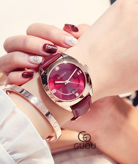 นาฬิกาแบรนด์ GUOU สายหนังสีแดง สวยหรู งานคุณภาพ