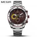 นาฬิกา MEGIR สุดหรู สายสแตนเลส หน้าสีน้ำตาลสวยมาก