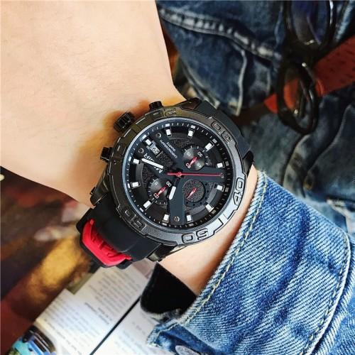 นาฬิกา MEGIR สุดเท่ห์ สายยางสีดำตัดแดง งานพรีเมียมมากๆ