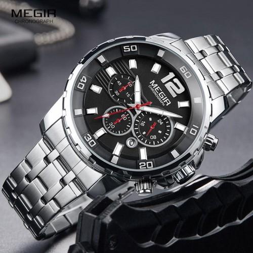นาฬิกา MEGIR หน้าปัดดำ สายสแตนเลส สวยหรูมาก