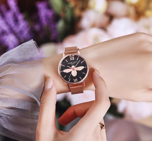 นาฬิกา Daybird สีดำ+พิงค์โกลด์ หน้าปัดสวยมาก ลายนูน 3 มิติ
