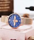 นาฬิกา Daybird สีน้ำเงิน+พิงค์โกลด์ หน้าปัดสวยมาก ลายนูน 3 มิติ