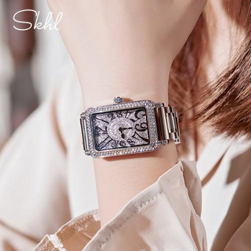 นาฬิกา GUOU สีเงิน ทรงสีเหลี่ยมโค้งมน สวยหรู