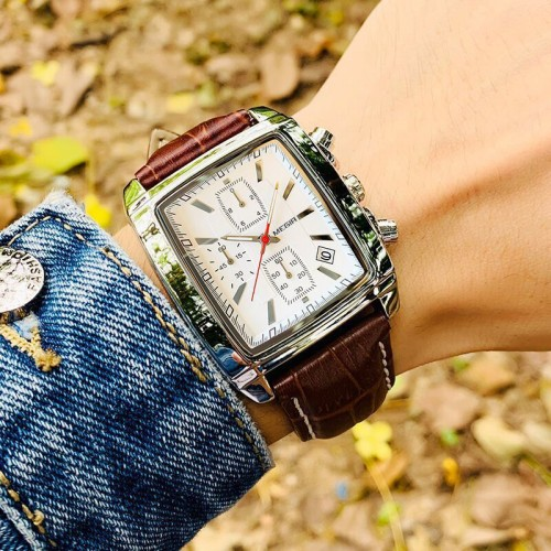 นาฬิกาสุดเท่ห์จาก MEGIR สายหนังแท้สีน้ำตาล หน้าปัดเหลี่ยมหล่อมาก