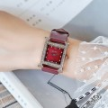 นาฬิกา GUOU หน้าปัดทรงเหลี่ยม ประดับขอบเพชร เรือนแดง