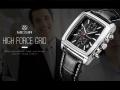 นาฬิกาสุดเท่ห์จาก MEGIR สายหนังแท้สีดำ หน้าปัดเหลี่ยมหล่อมาก