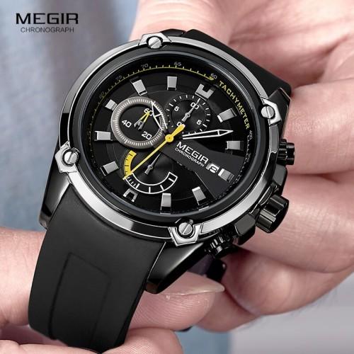 นาฬิกา MEGIR สุดเท่ห์งานพรีเมียม สายยางสีดำตัดเหลือง