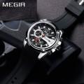 นาฬิกา MEGIR สุดเท่ห์งานพรีเมียม สายยางสีดำตัดแดง