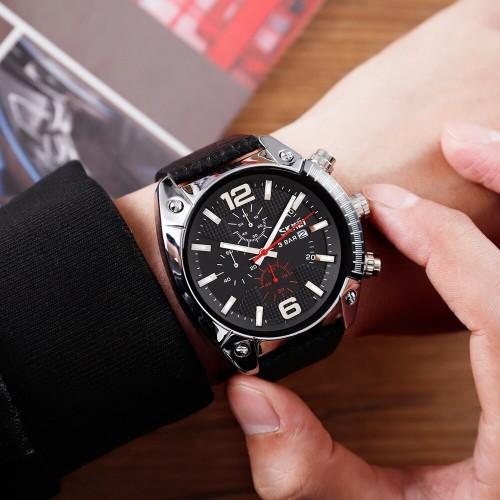 นาฬิกาสายหนังแท้สีดำจาก SKMEI หน้าปัดดำสวยเท่ห์
