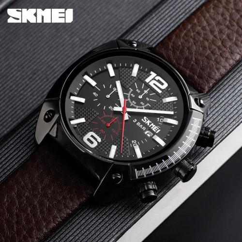 นาฬิกาสายหนังแท้สีน้ำตาลจาก SKMEI หน้าปัดดำสวยเท่ห์