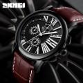 นาฬิกา SKMEI สายหนังแท้สีน้ำตาล หน้าปัดดำสวยคลาสสิค