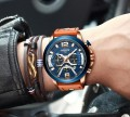 นาฬิกา NIBOSI หน้าปัดสีน้ำเงิน สายหนังน้ำตาลส้ม สวยมาก