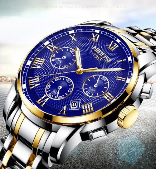 นาฬิกา NIBOSI หน้าปัดสีน้ำเงิน ตัดทอง สวยหรู คุณภาพเยี่ยม