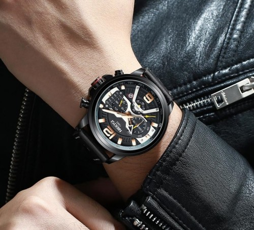 นาฬิกา NIBOSI หน้าปัดสีดำ สายหนังดำ สวยเท่ห์สุดๆ