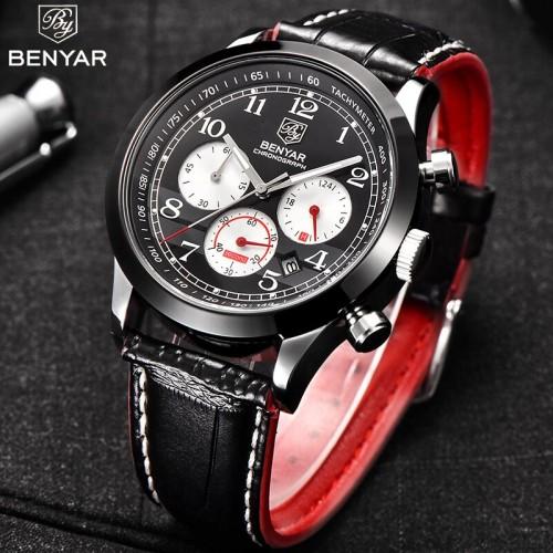 นาฬิกา BENYER คุณภาพเยี่ยม หน้าปัดดำ งานสายหนังสุดหรู