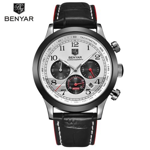 นาฬิกา BENYER คุณภาพเยี่ยม หน้าปัดขาว งานสายหนังสุดหรู