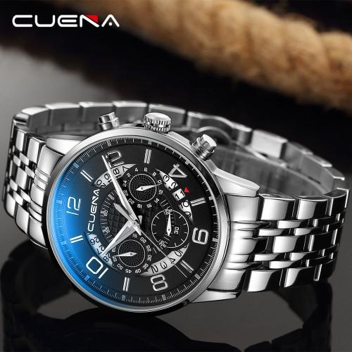นาฬิกา CUENA หน้าปัดสีดำ สายสแตนเลส สวยหรูมีสไตล์