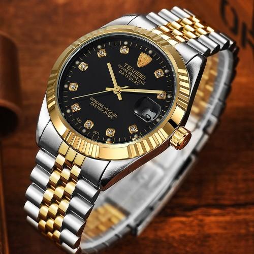 นาฬิกาออโต้ แบรนด์ Tevise สุดหรู ในหน้าปัดสีดำทอง