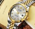 นาฬิกาออโต้ แบรนด์ Tevise สุดหรู ในหน้าปัดสีเงินขอบทอง