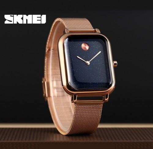 นาฬิกา SKMEI ทรงเหลี่ยมเรียบหรู สายสแตนเลสถักแพรสวยงาม
