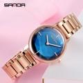 นาฬิกาแบรนด์ SANDA ดีไซน์สไตล์คริสตัล สีน้ำเงินสวยหรู