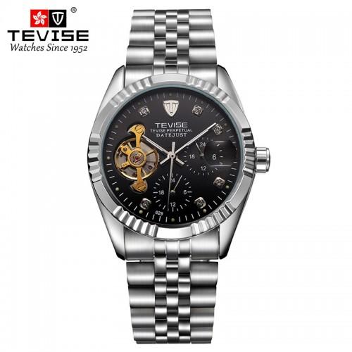 นาฬิกาออโต้ Tevise หน้าปัดสีดำขอบเงิน สวยหรูมาก