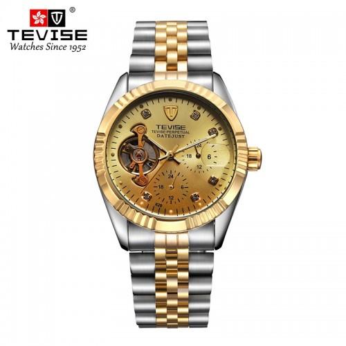นาฬิกาออโต้ Tevise หน้าปัดสีทองขอบทอง สวยหรูมาก