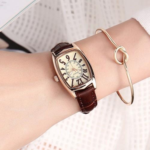 นาฬิกาสายหนัง GUOU สีน้ำตาลสวย งานคุณภาพดี