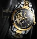 นาฬิกาออโต้ Tevise หน้าปัดสีดำทอง สวยหรูงานคุณภาพเยี่ยม