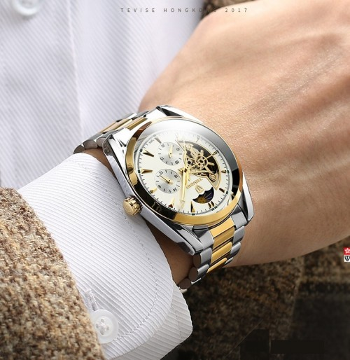 นาฬิกาออโต้ Tevise หน้าปัดสีขาวขอบทอง สวยหรูงานคุณภาพเยี่ยม