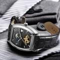 นาฬิกาออโต้ Tevise สายหนัง ตัวเรือนทรงออกเหลี่ยม สีดำสวยงาม