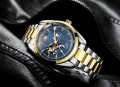 นาฬิกาออโต้ Tevise พื้นสีน้ำเงินขอบทอง หน้าปัดสวยมาก
