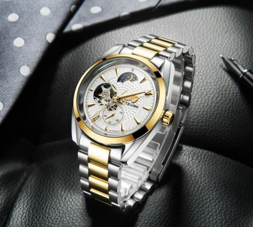 นาฬิกาออโต้ Tevise พื้นสีขาวขอบทอง หน้าปัดสวยมาก
