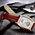 นาฬิกาออโต้ Tevise สายหนัง ตัวเรือนทรงออกเหลี่ยม สายสีน้ำตาลสวยงาม