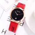 นาฬิกา GUOU สายหนังคุณภาพดีสีแดง สวยหรูมาก